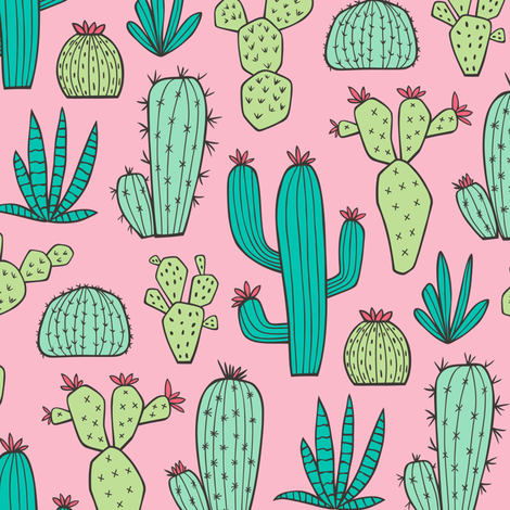 Cactus on Pink fabric by caja_design on Spoonflower - custom fabric