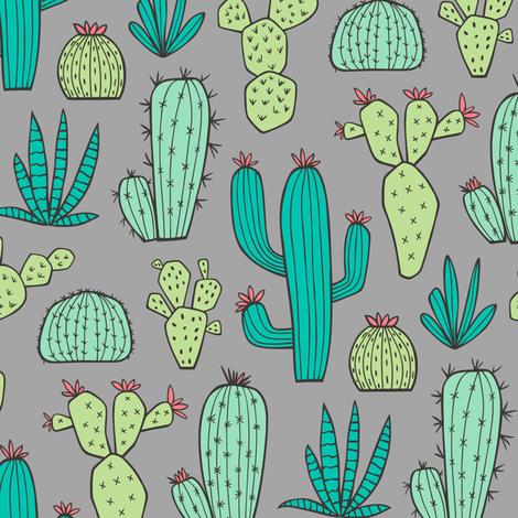 Cactus on Dark Grey fabric by caja_design on Spoonflower - custom fabric