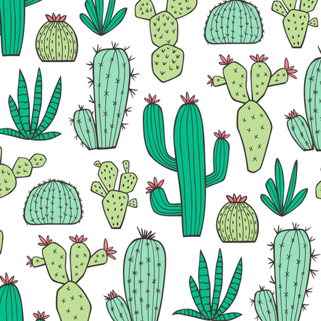 Cactus on White fabric by caja_design on Spoonflower - custom fabric