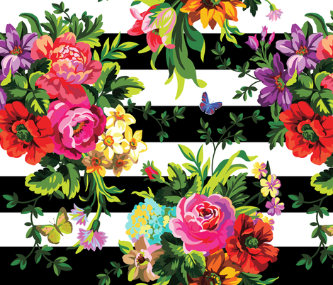 """18"""" Floral Pop Stripes - Large Print fabric by shopcabin on Spoonflower - custom fabric"""