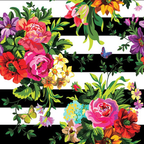 "18"" Floral Pop Stripes - Large Print"