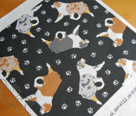 Small trotting Australian Shepherds and paw prints - black