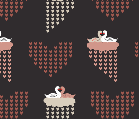Love Birds Rose and Gray fabric by pamelachi on Spoonflower - custom fabric