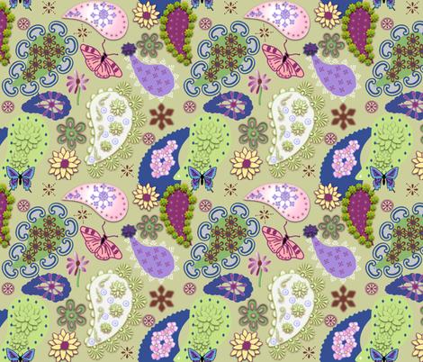 Paisley II on Green fabric by gargoylesentry on Spoonflower - custom fabric