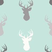 Deer-Mint/Grey/Off-White - woodland baby nursery