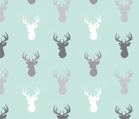 Deer-Mint/Grey/Off-White - woodland baby nursery fabric by sugarpinedesign on Spoonflower - custom fabric