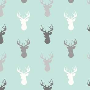 Deer-Mint/Grey/Off-White - woodland baby nursery