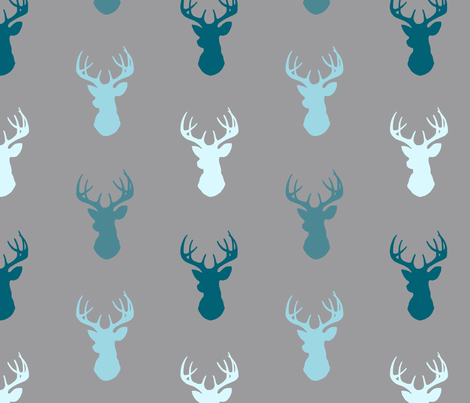 Deer-Teal/Blue/Grey- Winslow fabric by sugarpinedesign on Spoonflower - custom fabric