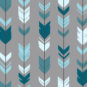 Arrow Feather- Teal/Blue/Grey- Winslow- Baby boy Woodland Nursery