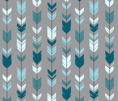 Arrow Feather- Teal/Blue/Grey- Winslow- Baby boy Woodland Nursery fabric by sugarpinedesign on Spoonflower - custom fabric