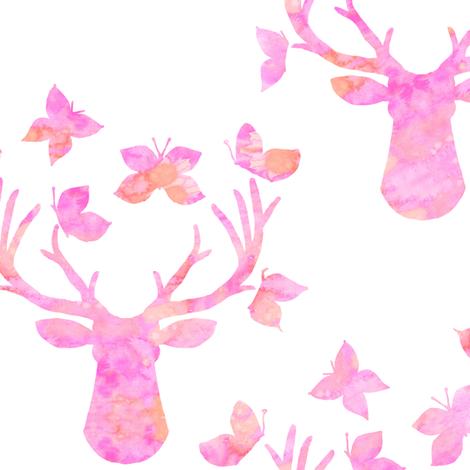 Watercolor Butterfly Buck Pink fabric by emilysanford on Spoonflower - custom fabric