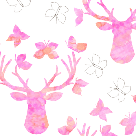 Watercolor Butterfly Buck Pink Pencil fabric by emilysanford on Spoonflower - custom fabric