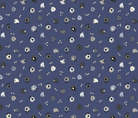 Nighttime Sheep Meadow Ditsy fabric by beccamade on Spoonflower - custom fabric