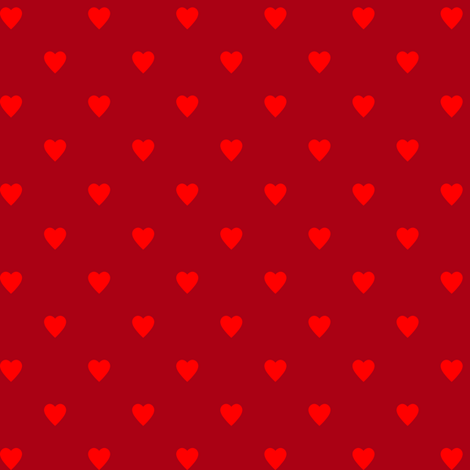 Christmas Red Hearts on Dark Red fabric by mtothefifthpower on Spoonflower - custom fabric