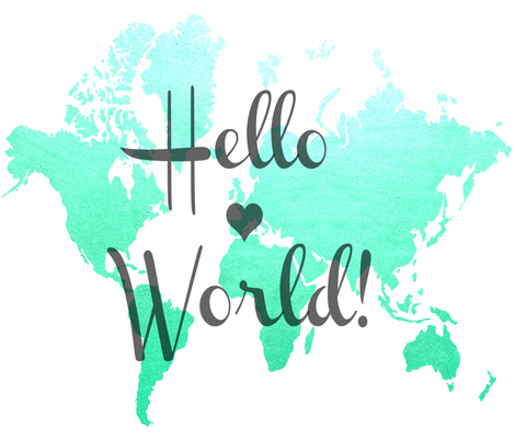 Hello World mint-turquoise fabric by eyelet_skye_designs on Spoonflower - custom fabric