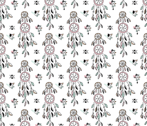 Bohemian dreamcatcher with feathers and flowers girls indian summer design pink mint fabric by littlesmilemakers on Spoonflower - custom fabric