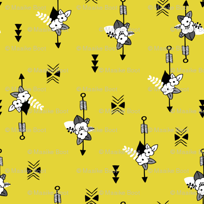 Colorful indian summer arrows bohemian flowers summer print yellow