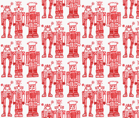 Red Robot Girlfriends fabric by littleislandcompany on Spoonflower - custom fabric