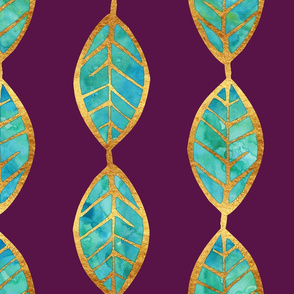 Aqua Gold Foil Leaves on Rich Purple