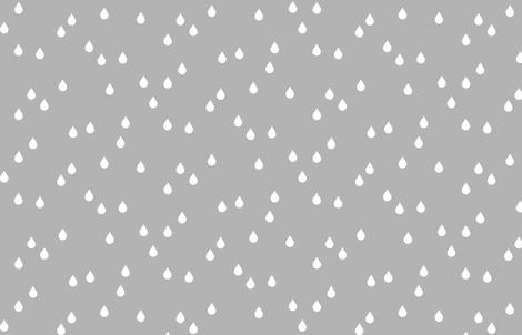 Clouds + Rain - Rain Drops White on Gray fabric by cavutoodesigns on Spoonflower - custom fabric