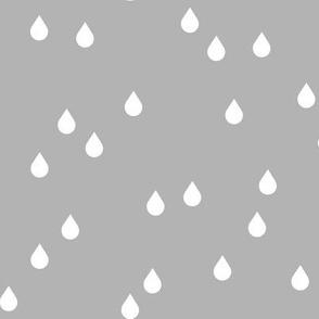 Clouds + Rain - Rain Drops White on Gray