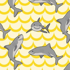 Cartoon Sharks (Yellow)