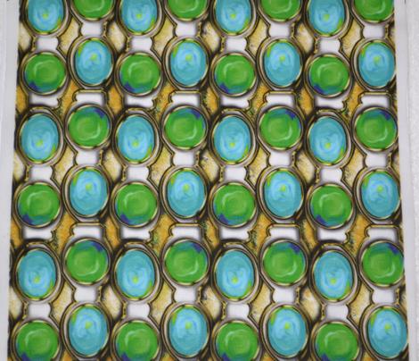 Aquamarine and Jade Links set in fake gold