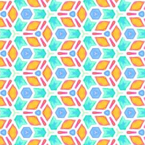 Summer Sprouts  Geometric Water Color Kaleidoscope