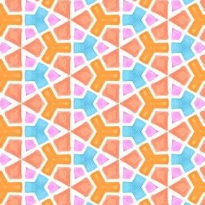 Segmented Hexagons Geometric Water Color Kaleidoscope