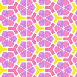 Vivid Geometric Hexagons in Pink, Purple & Yellow