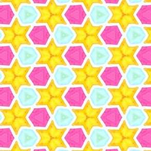Star Bright Geometric Water Color Kaleidoscope