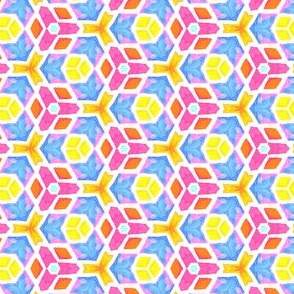Geometric Fantasy in Yellow, Blue and Pink
