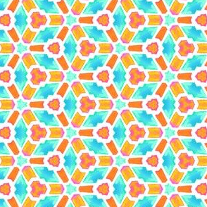 Teal and Orange Watercolor Kaleidoscope