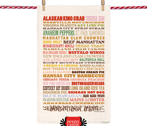Melting Pot Tea Towel* (Multi) || United States US America food drink cooking restaurant menu typography cut and sew diy kitchen