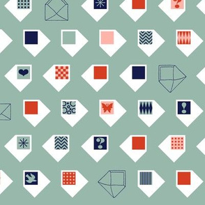 Enveloped* (Camouflage) || postal service snail mail envelope love letter airmail par avion heart butterfly bird chevron geometric check