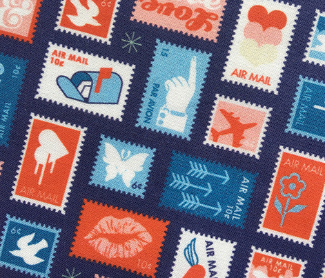 Book of Stamps* (Jackie Blue & Tomato Soup) || postal service snail mail postmark letter airmail par avion geometric wave heart love butterfly envelope special delivery star starburst