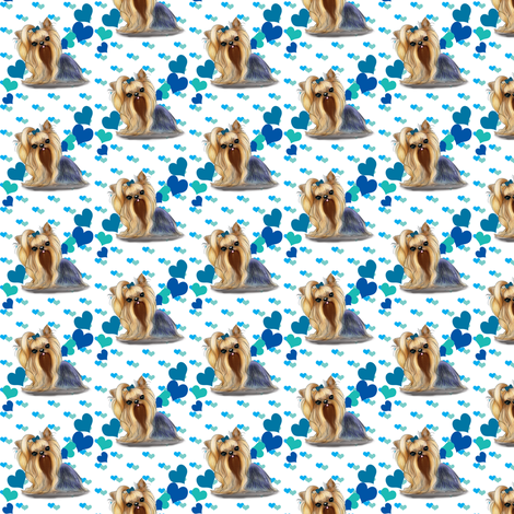 Yorkie Blue Hearts small pattern  fabric by catialee on Spoonflower - custom fabric
