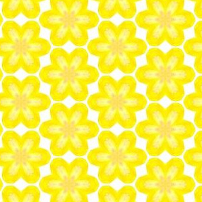 Yellow Floral Brights Water Color Painting Pattern