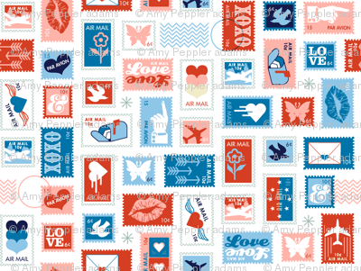 Book of Stamps* (Tomato Soup & Sailor) || postal service snail mail postmark letter airmail par avion geometric wave heart love butterfly envelope special delivery star starburst