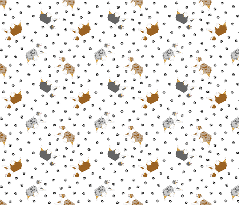 Tiny trotting Australian Shepherds and paw prints - white fabric by rusticcorgi on Spoonflower - custom fabric
