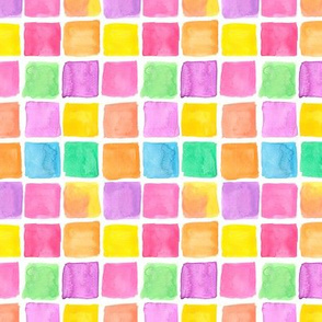 Watercolor Rainbow Squares Water Color Painting Pattern
