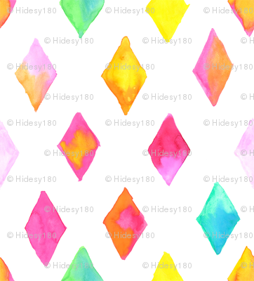 Water Color Diamonds Hand Painted Pattern