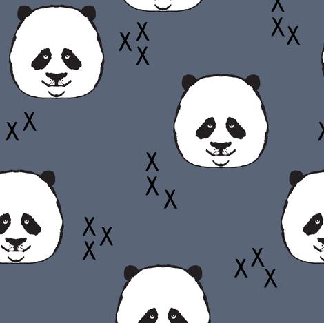panda // dark blue fabric by littlearrowdesign on Spoonflower - custom fabric