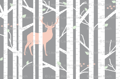 walk in the woods // peach & cucumber - white trees