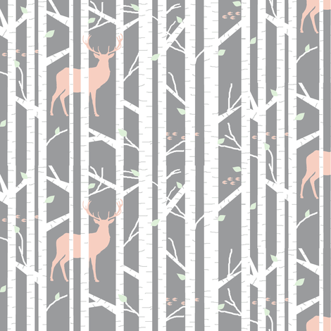walk in the woods // peach & cucumber - white trees fabric by buckwoodsdesignco on Spoonflower - custom fabric