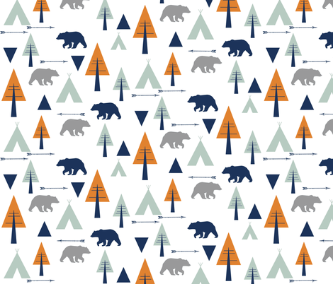 bear camp // orange  fabric by buckwoodsdesignco on Spoonflower - custom fabric
