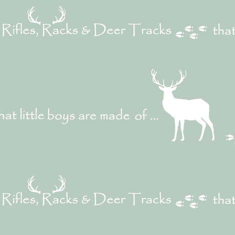 Rifles, Racks & Deer Tracks // crib sheet - sage fabric by buckwoodsdesignco on Spoonflower - custom fabric