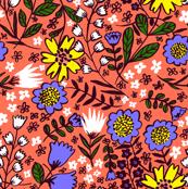 Amelia, coral/cornflower