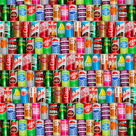 Dean's Vintage Soda Cans fabric by midcoast_miscellany on Spoonflower - custom fabric