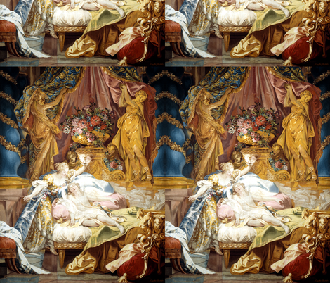 Cupid Psyche neo classical fairy tales story Greek Roman baroque rococo bedrooms flowers statues gods palace sleeping vintage Greece Rome royal  fabric by raveneve on Spoonflower - custom fabric